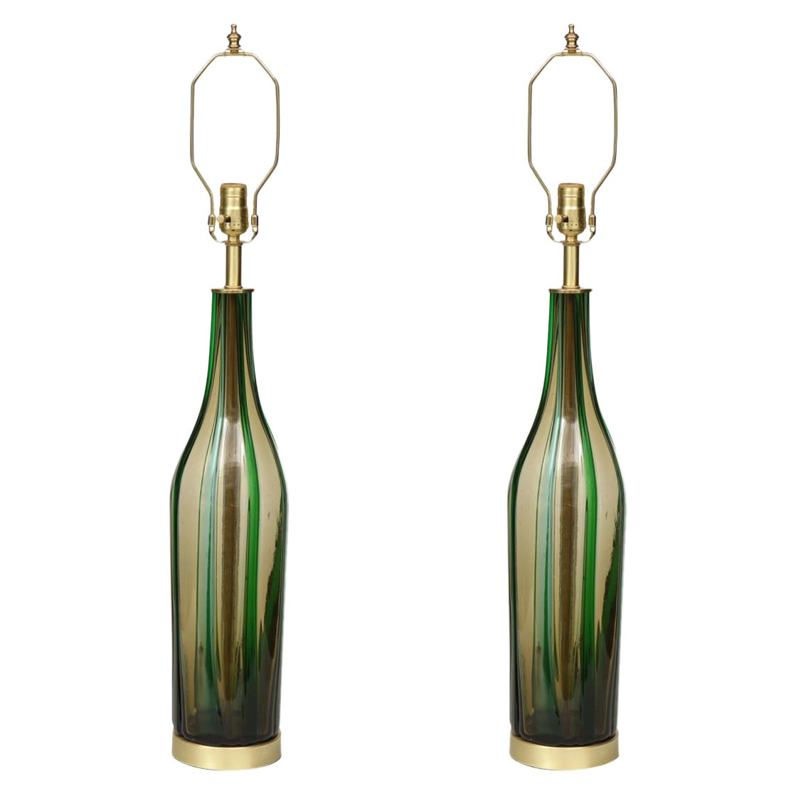 Murano Olive Green, Vertical Striped Glass Lamps