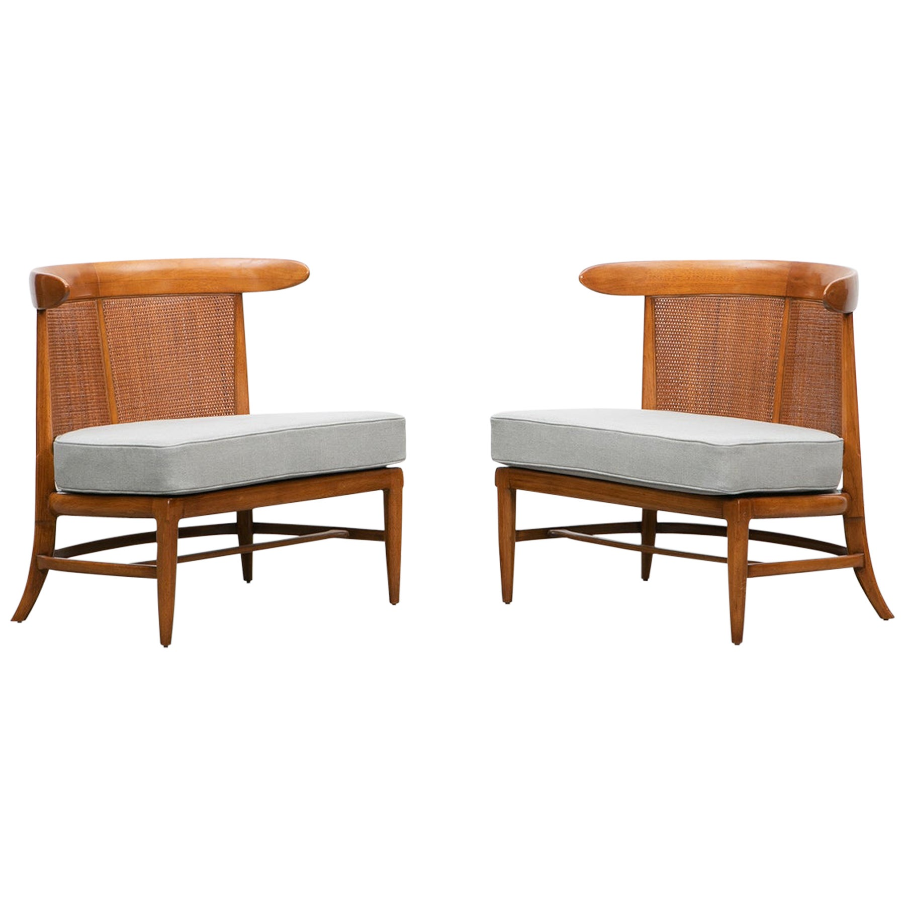 1950s Brown Walnut and Cane Lounge Chairs by Lubberts or Mulder 'g'
