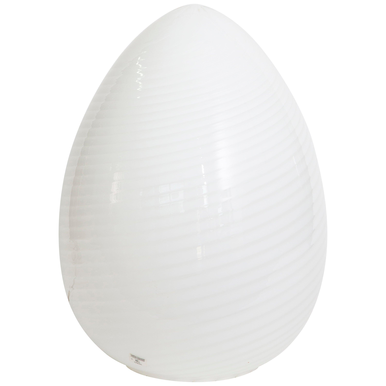 Pair of Vetri Murano Egg Lamps in White, Murano, Italy, 1965