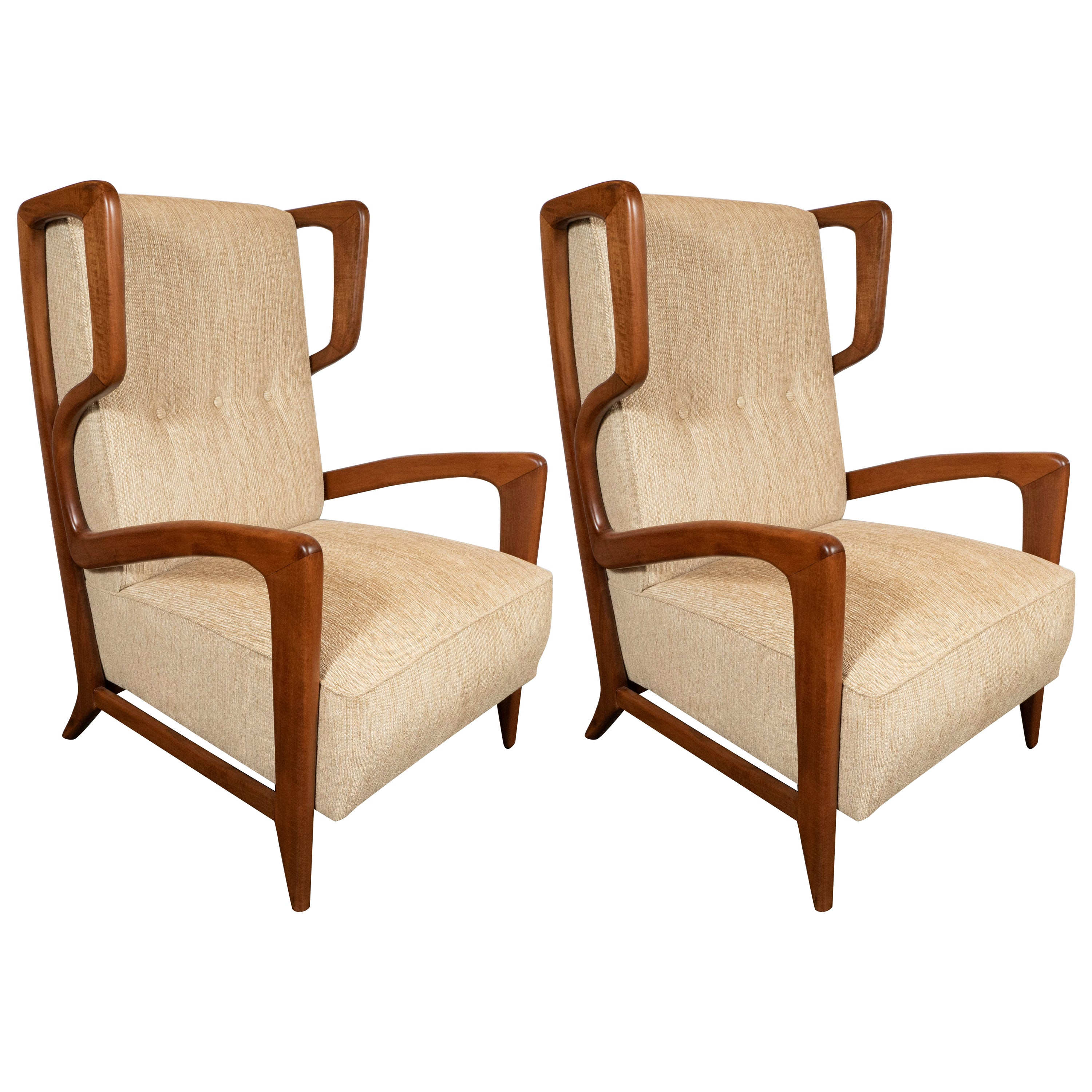 Pair of Sculptural Midcentury Button Back Handrubbed Walnut Lounge Chairs