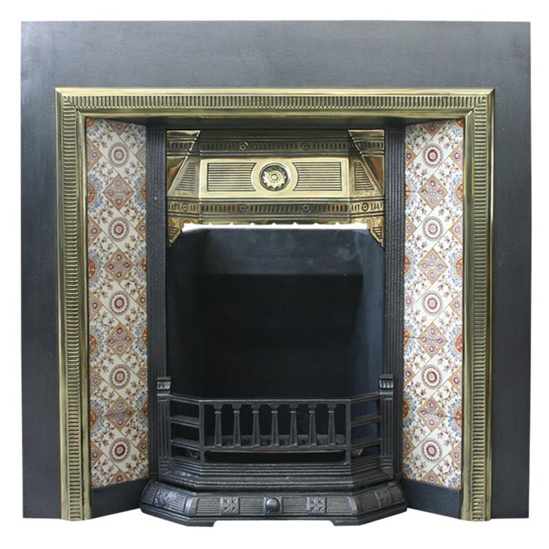 Large Victorian Cast Iron, Brass and Tiled Fireplace Grate