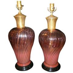 Pair of Amethyst Murano Lamps