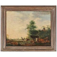 18th Century Flemish Pastoral Landscape Inc Trees, Cows, Cattle Goat & Sheep