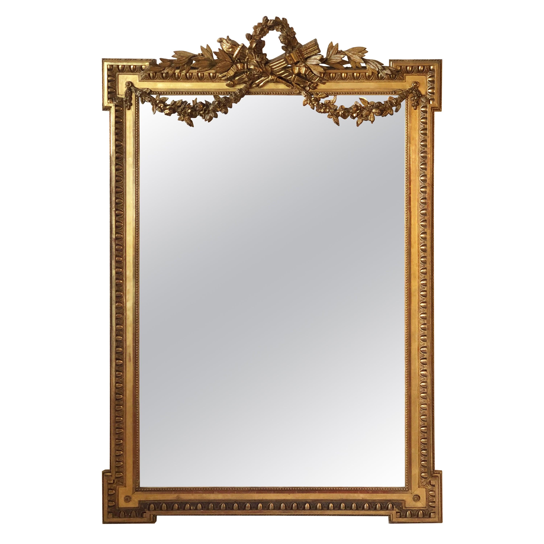 19th Century French Louis XVI Style Gilded Mirror