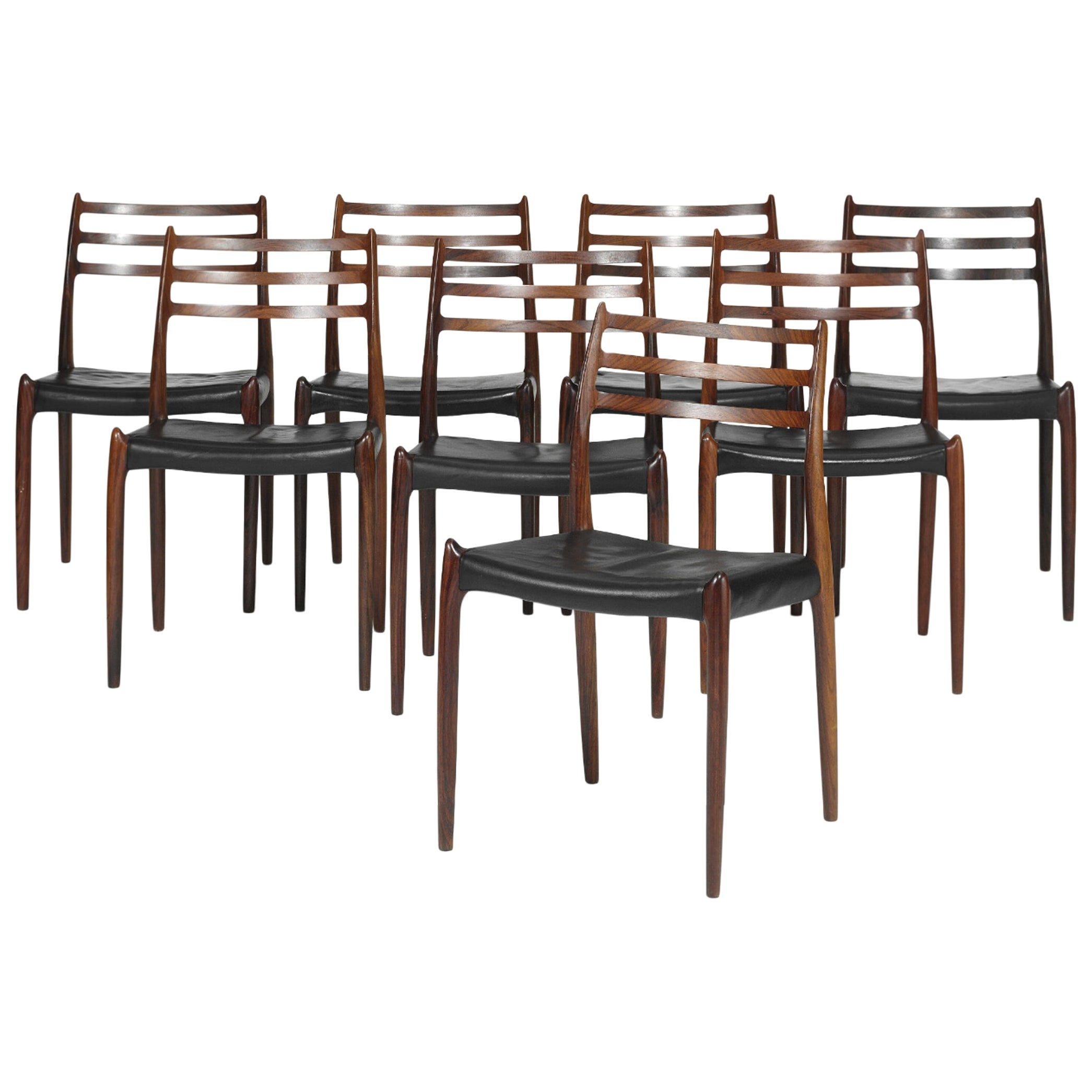 Set of Eight Model 78 Rosewood Chairs by Niels O. Moller, Denmark, 1960s