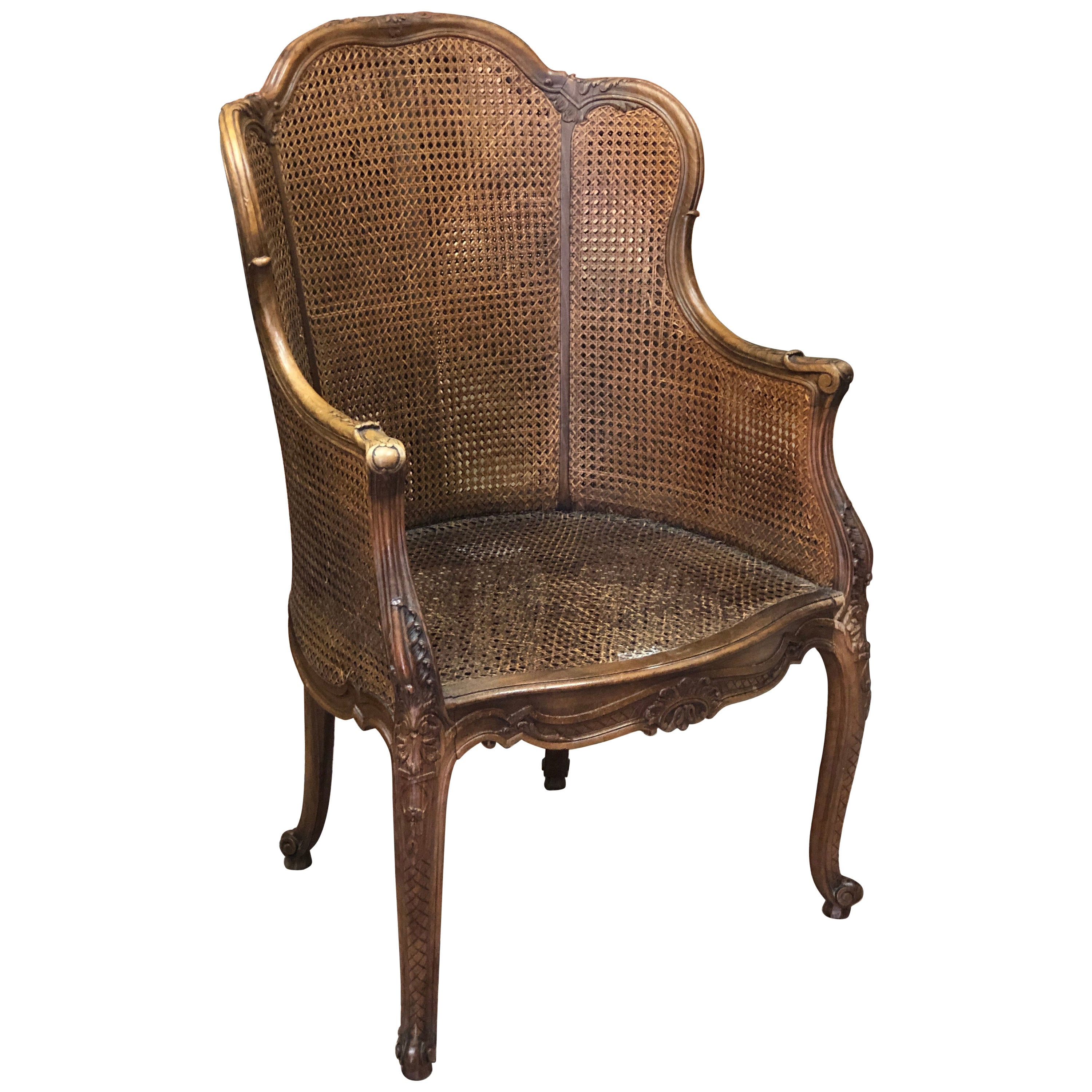 19th Century French Double Caning Bergère Armchair in Louis XV Style