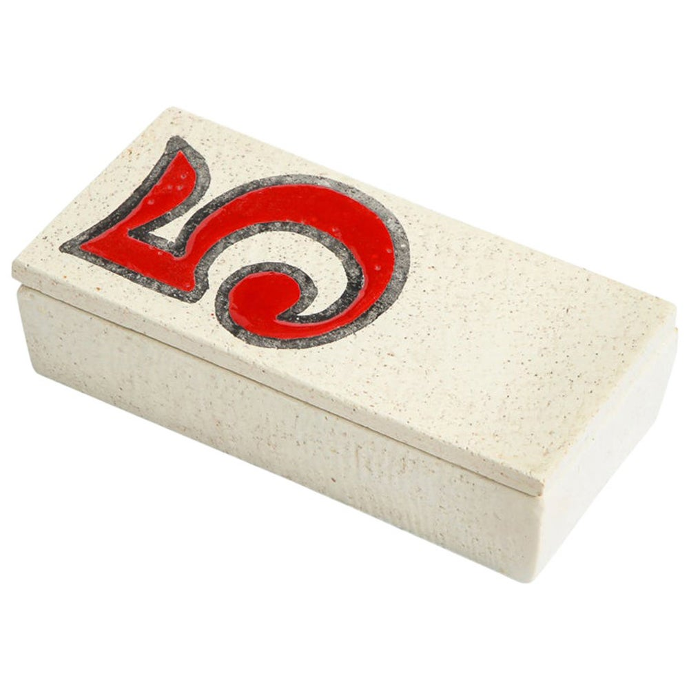 Bitossi Number 5 Box, Ceramic, Red and White, Signed