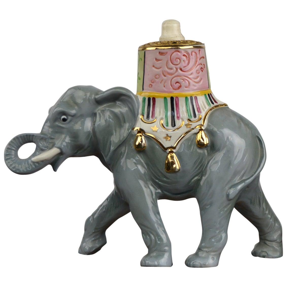 Porcelain Perfume Lamp Elephant Shaped , Germany , 1950s