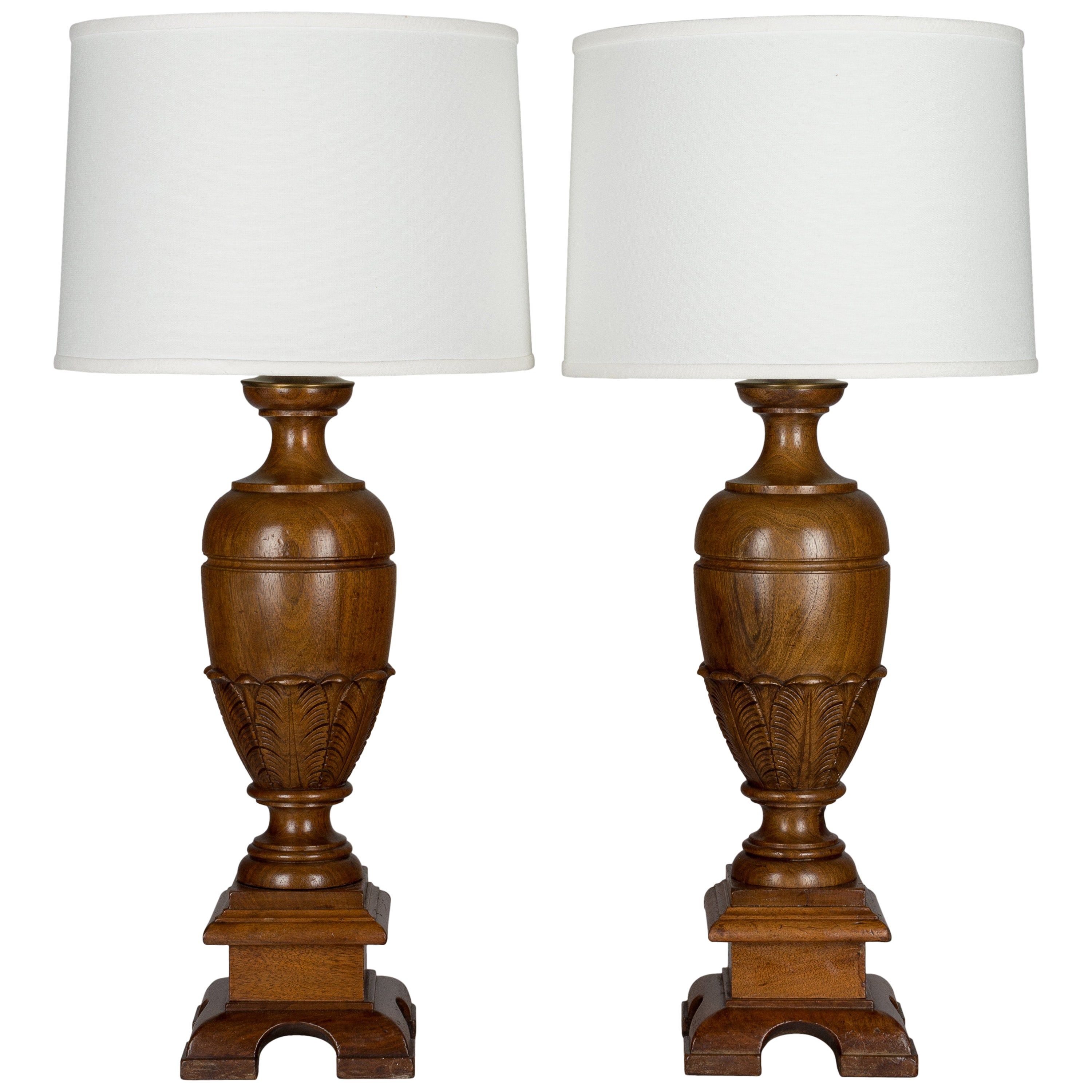 Pair of French Walnut Baluster Form Lamps