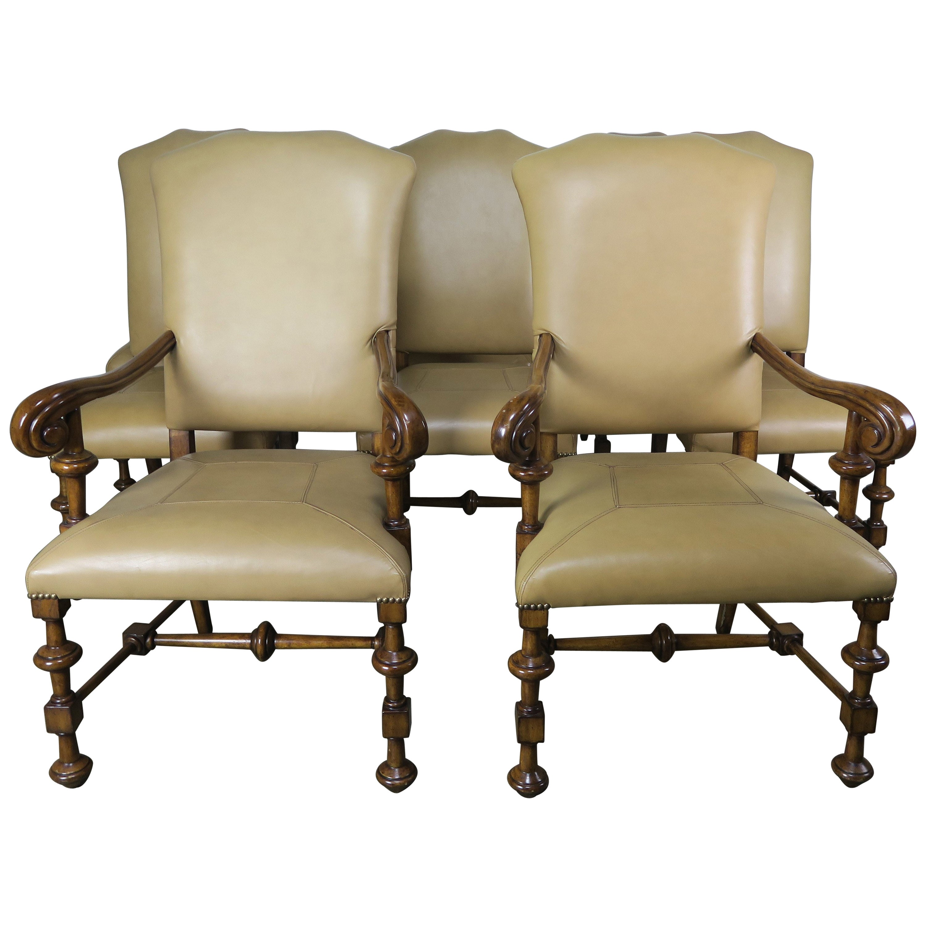 Set of Eight Spanish Walnut Leather Dining Chairs