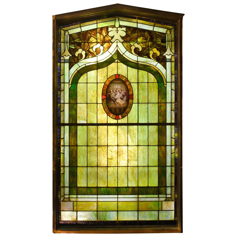 Purple and Green Slag Glass Window with Oval Scene