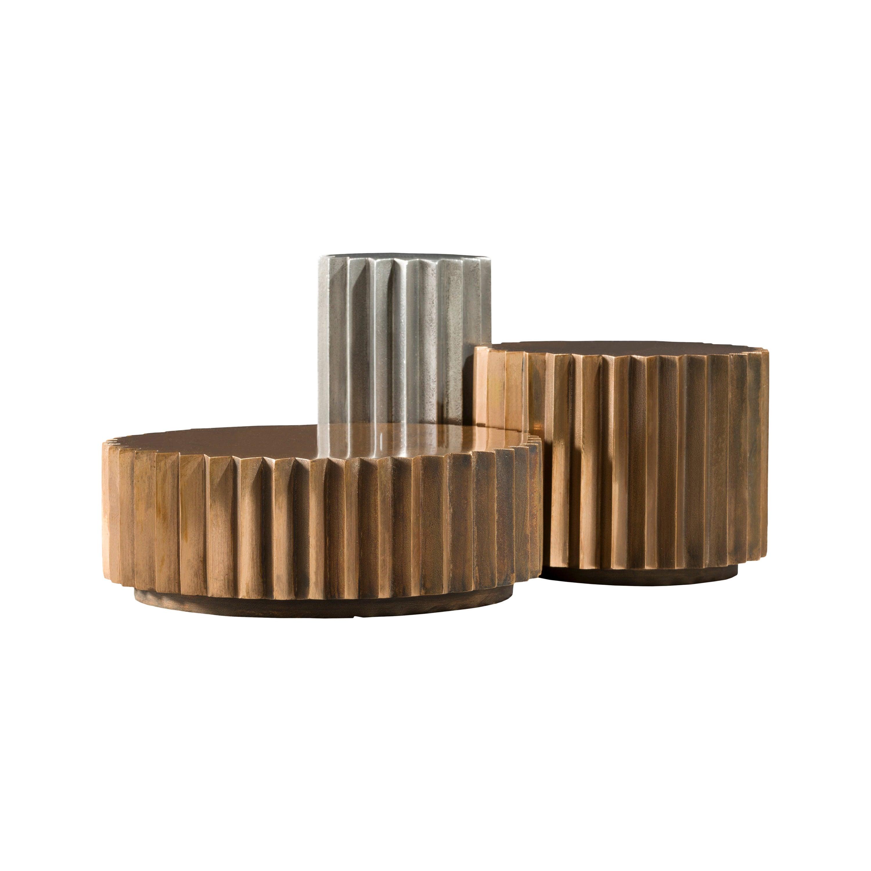 Doris Cast Bronze and Aluminum Multifaceted Coffee Table Set