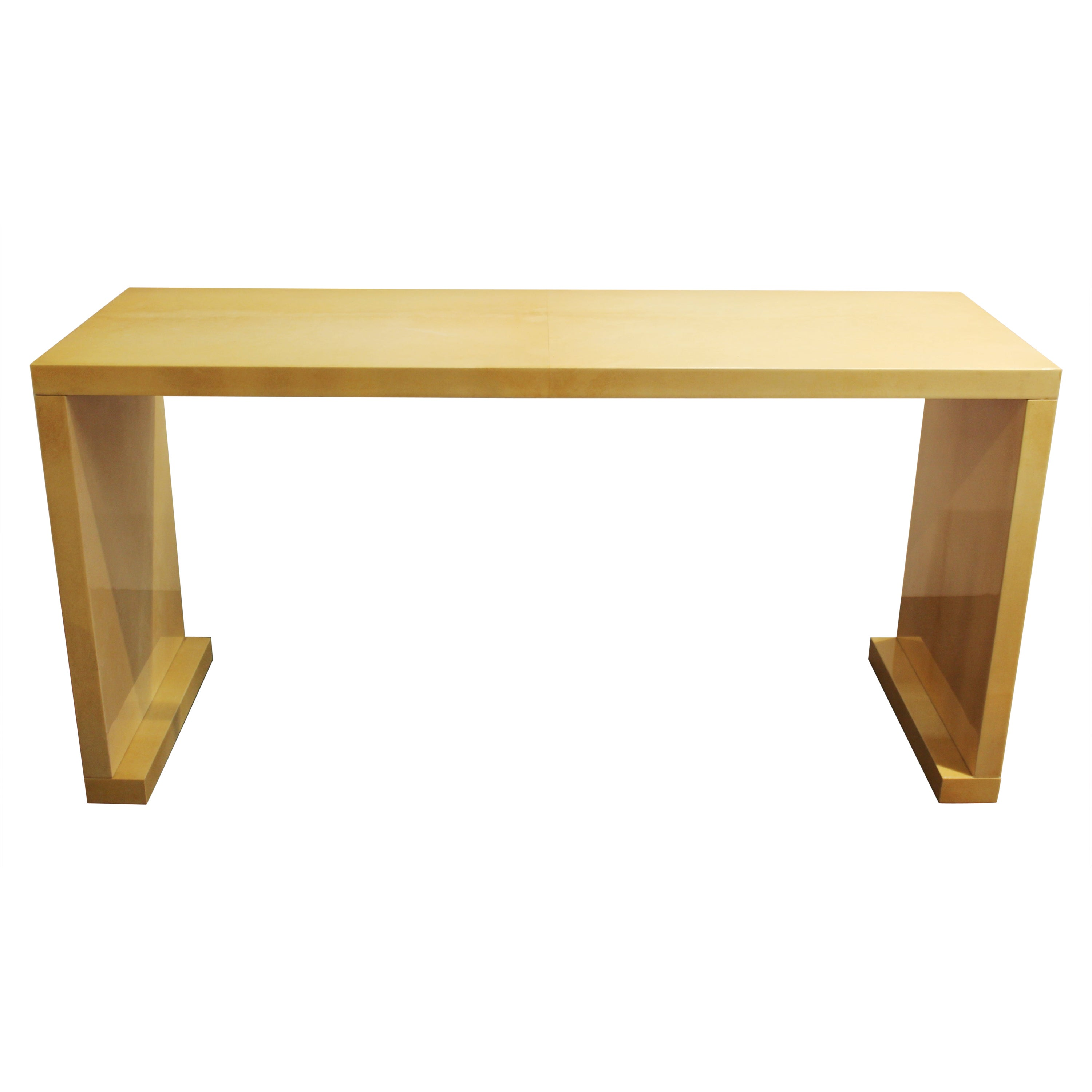 Modern Lacquered Goatskin Console Table Attributed To Karl Springer