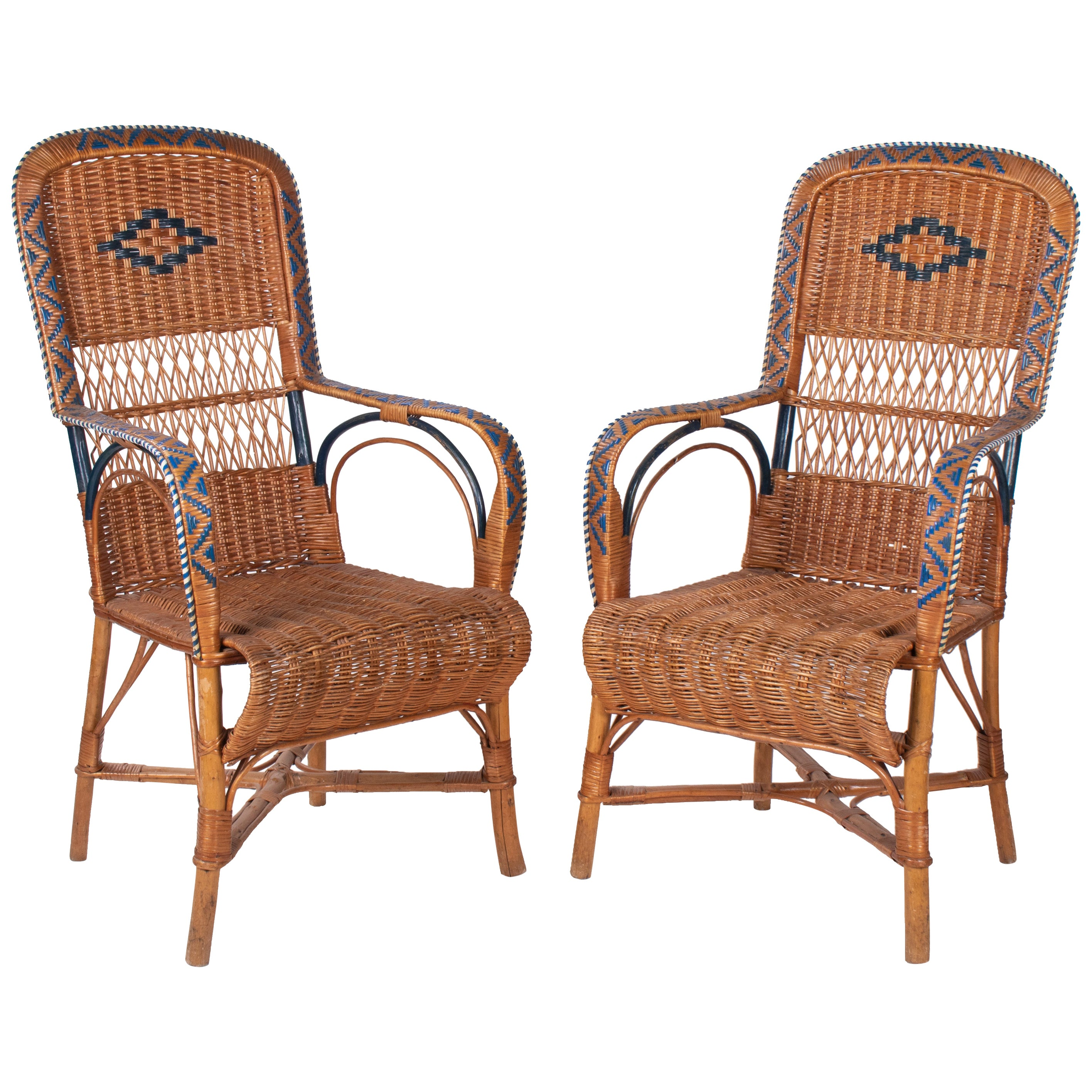 1970s Spanish Pair of Wicker and Wood Decorated Armchairs