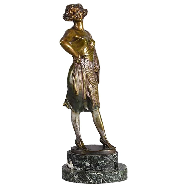 Art Deco Cold Painted Bronze Entitled 'Lady of the Night' by Bruno Zach