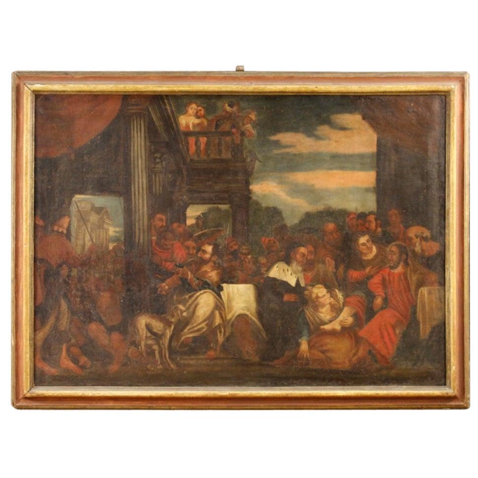 18th Century Oil on Canvas Italian Biblical Scene Painting, 1780