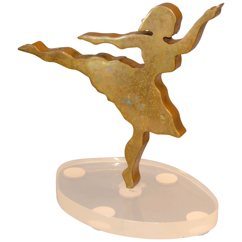 Signed Mid-Century Modern Solid Bronze Ballerina Dancer Sculpture Lucite Base