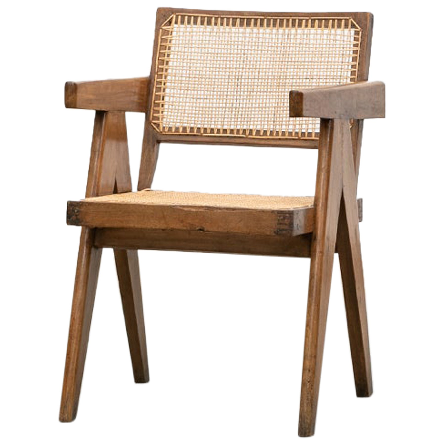 Single 1950s Brown Wooden Teak and Cane Chair by Pierre Jeanneret