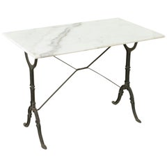Mid-20th Century French Iron Bistro Table with White Marble Top