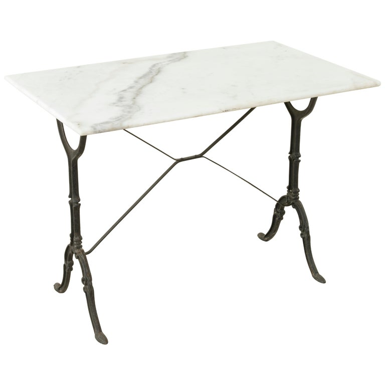 Mid-20th Century French Iron Bistro Table with White Marble Top For Sale