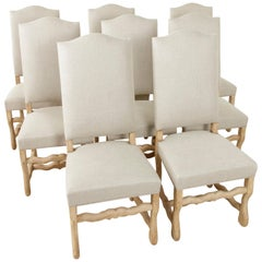 Set of Eight Midcentury French Oak Mutton Leg Side Chairs, Dining Chairs, Linen