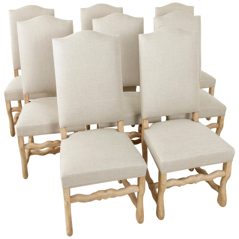 Set of Eight Midcentury French Oak Mutton Leg Side Chairs, Dining Chairs, Linen For Sale