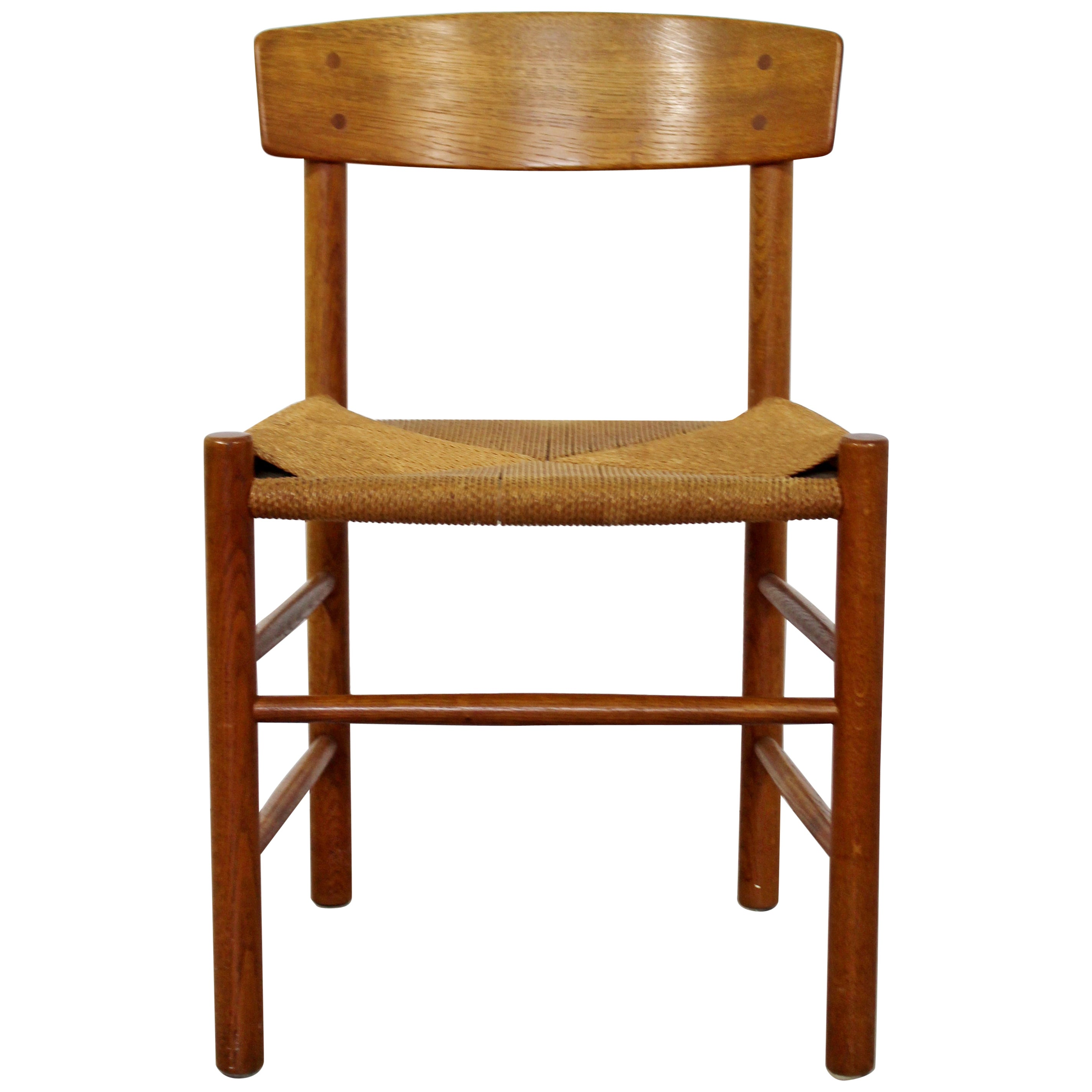 1950s Accent Chairs.Mid Century Modern Danish Wood And Cord Side Accent Chair 1950s