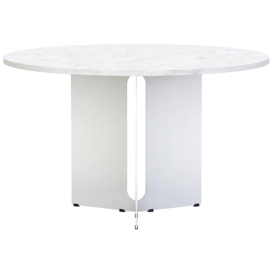 "Trilo Round Table 60"", Carrara Marble"