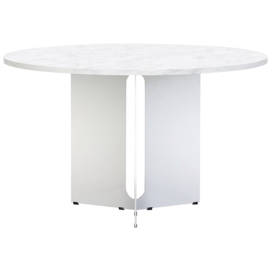 "Trilo Round Table 48"",  Carrara Marble"