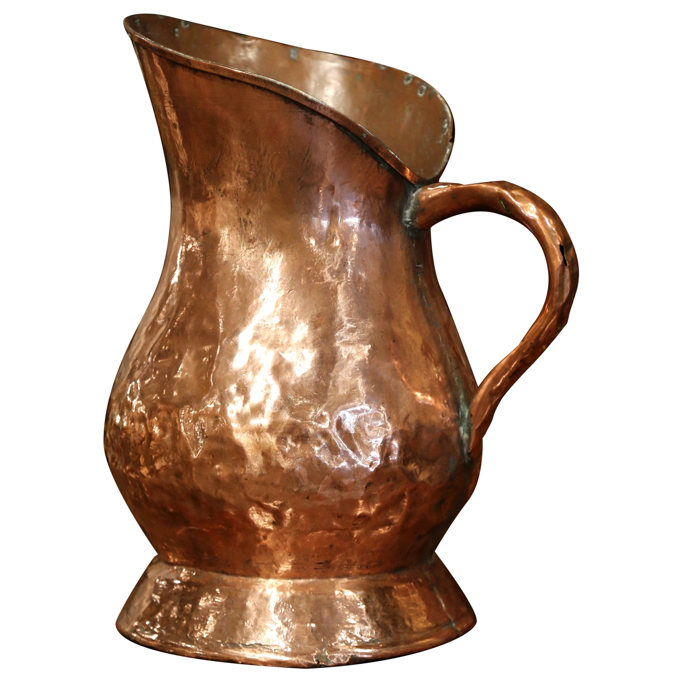 18th Century French Polished Copper Decorative Coal Bucket or Umbrella Stand