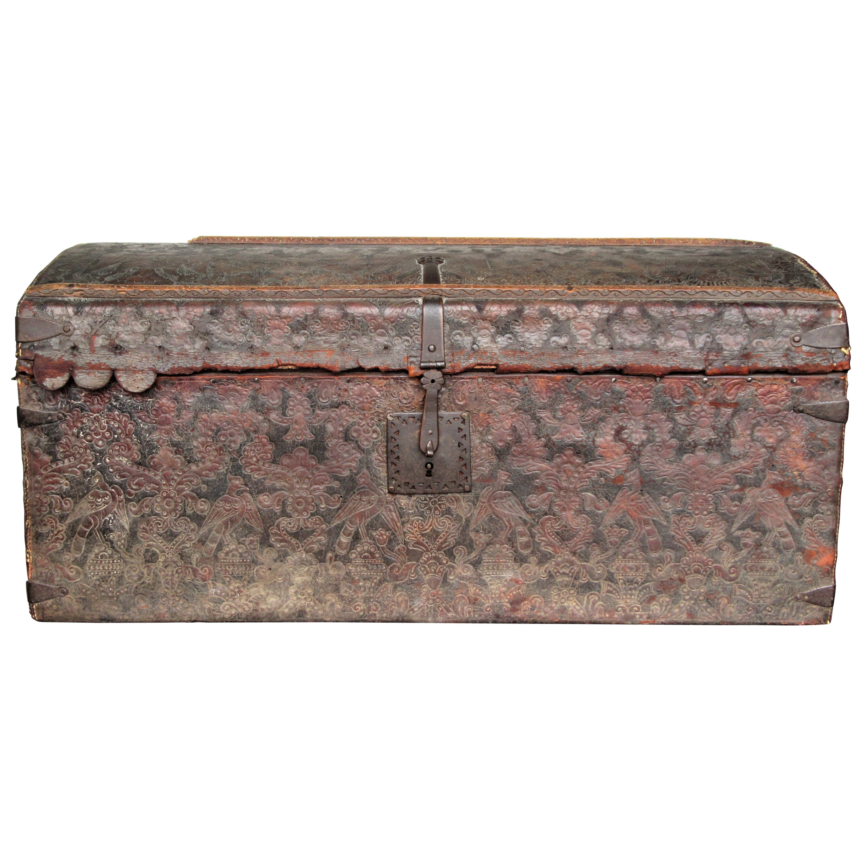 17th Century Spanish Hand Tooled Leather Trunk