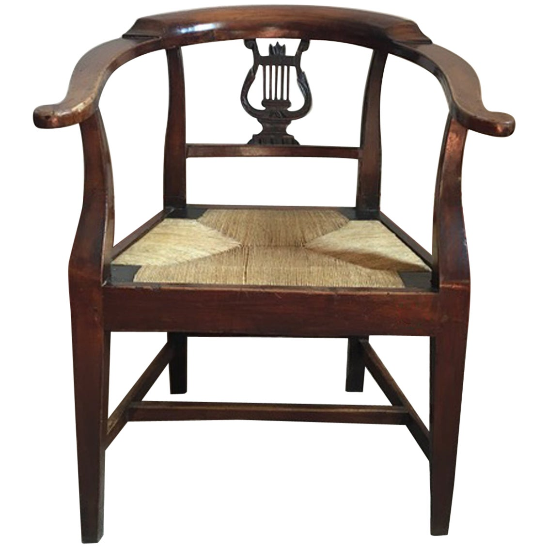 Italy 18th Century Walnut Dining Armchair with Cane Sitting