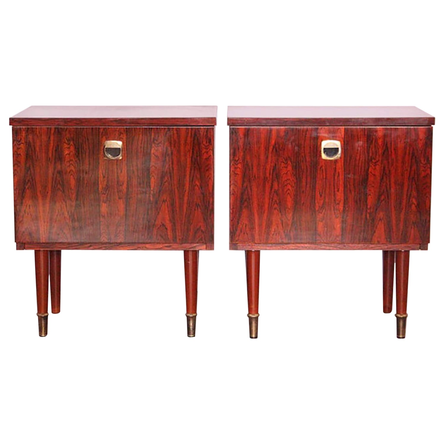 Pair of Midcentury Nightstands French, circa 1970 Side Cabinets Bedside Tables