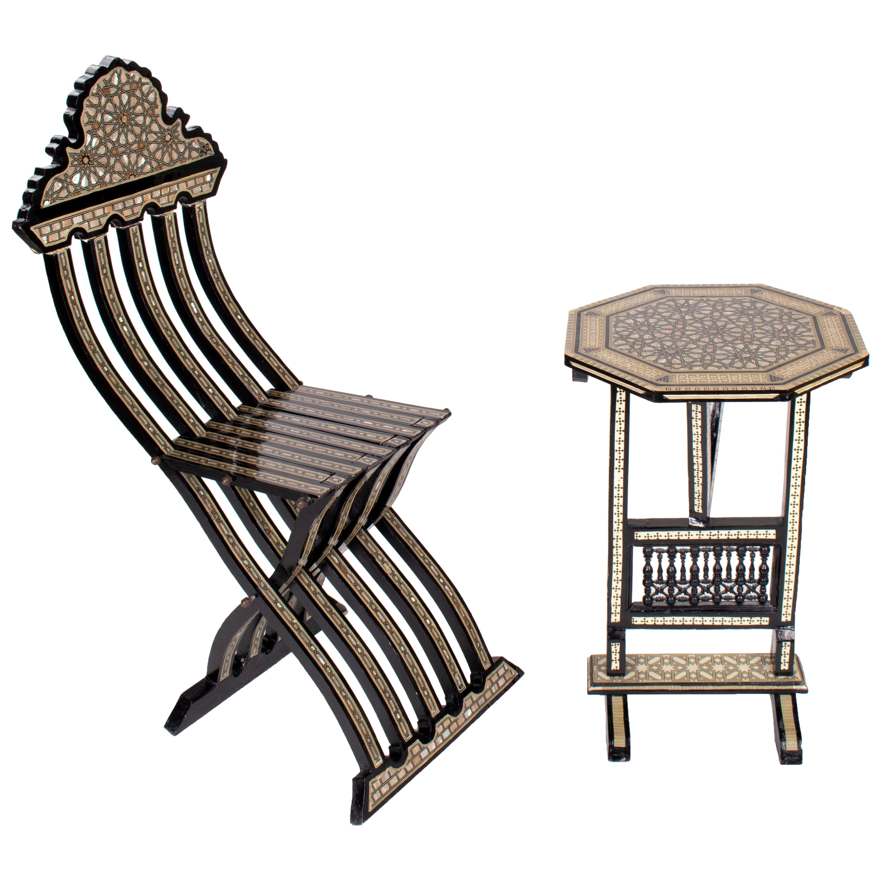 1990s Moroccan Style Inlayed Folding Table and Chair
