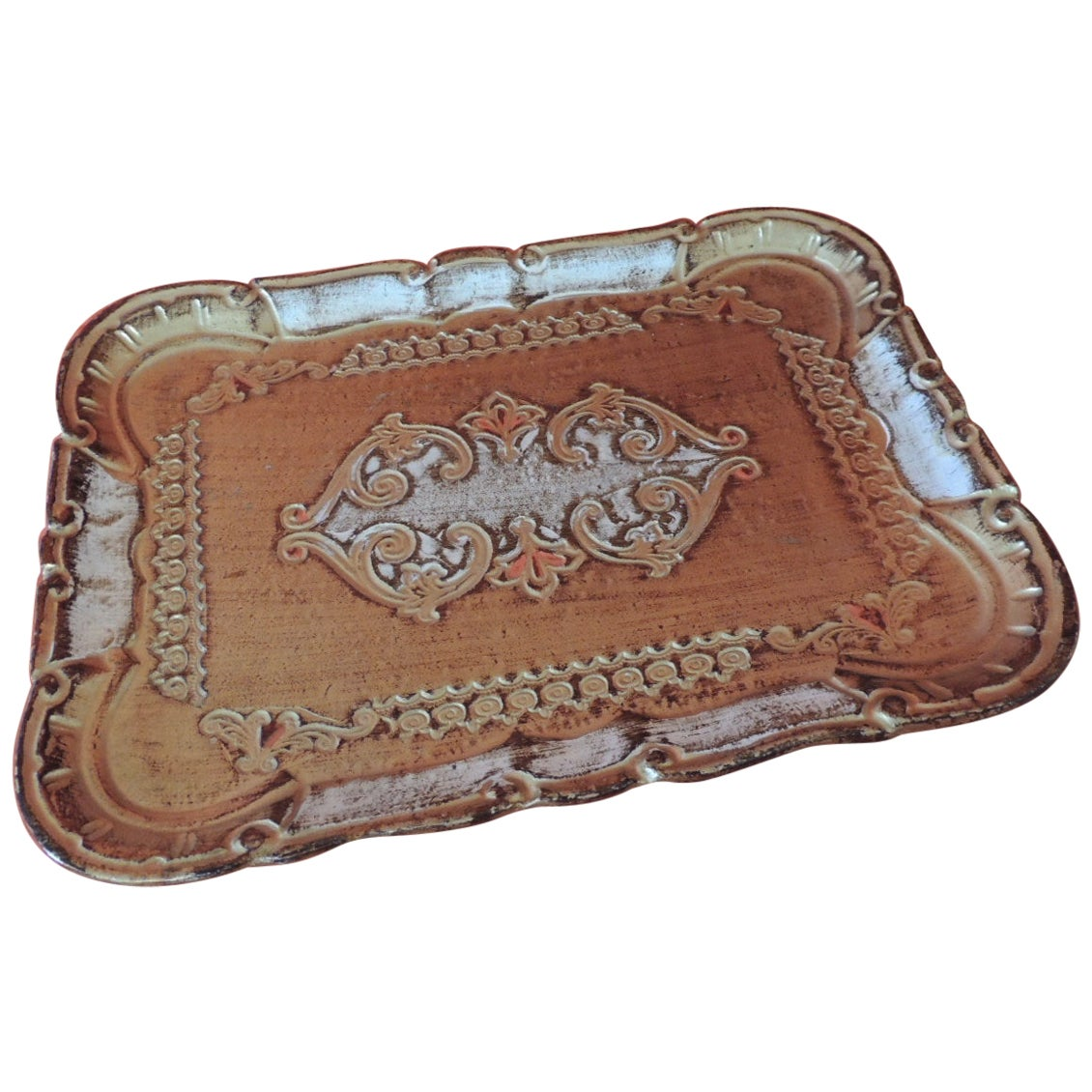 Vintage Florentine Gold Hand Painted Mail Tray