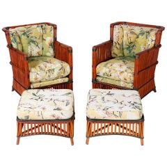Pair of Rattan Armchairs with Ottomans