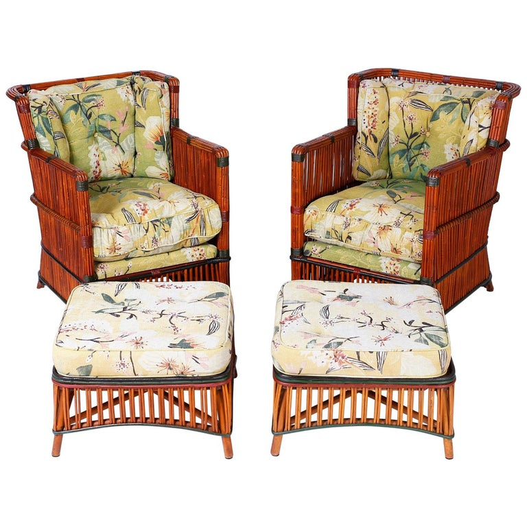 Pair of Rattan Armchairs with Ottomans For Sale
