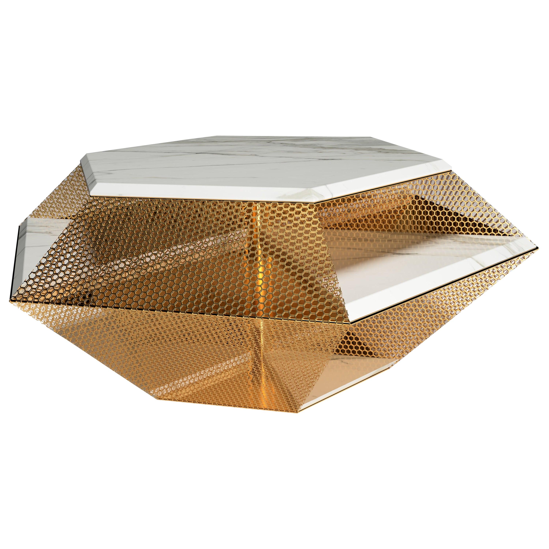 """The Rough Diamond"" Modern Sculptured Calacatta Coffee Table by Grzegorz Majka"