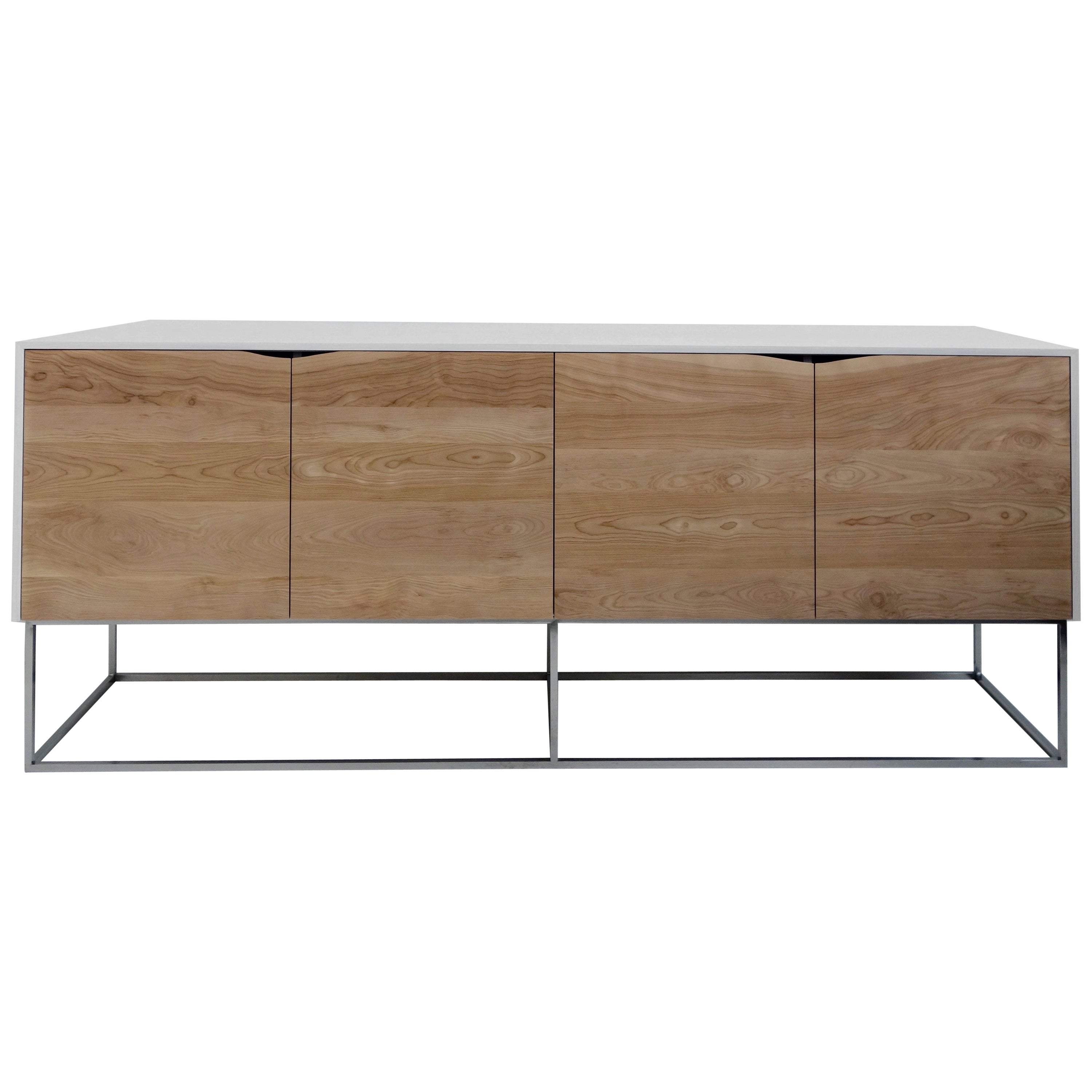 Handcrafted Classic Modern Credenza of Whitened Ash & Birch with Chrome Base