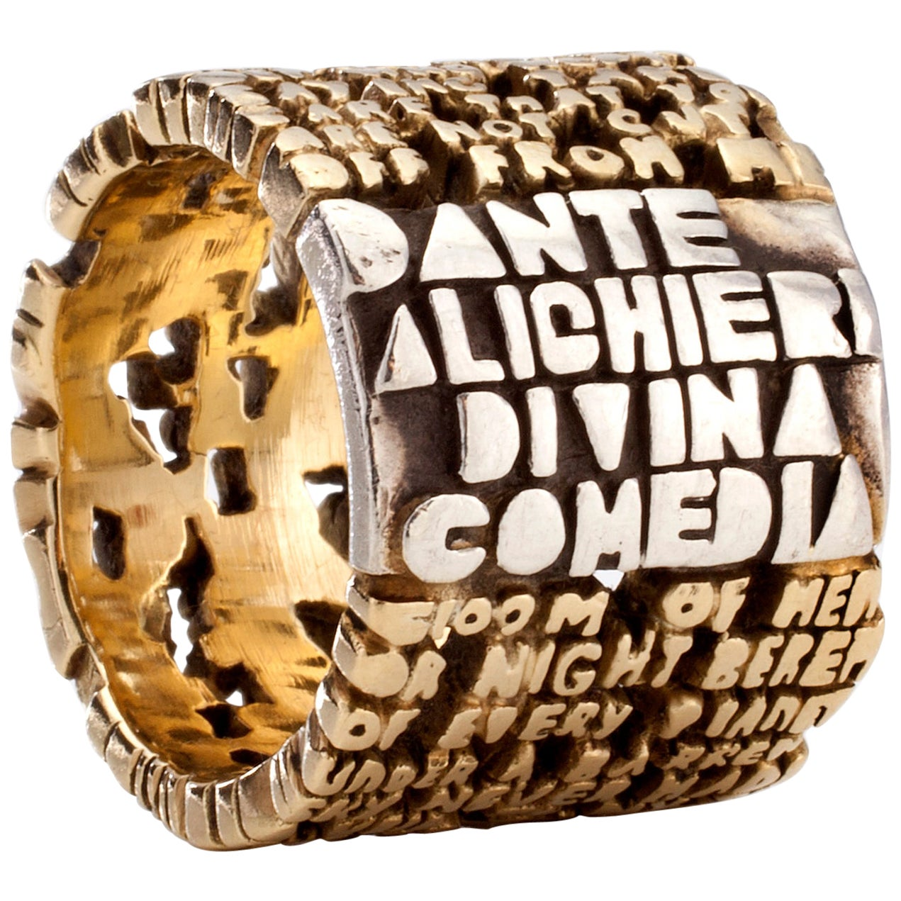 """Cantos"" Hell-IV Ring, in Sterling Silver with 18-Karat Gold by Anne Fischer"