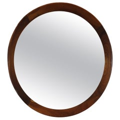 Round Mirror with Rosewood Frame by Sergio Rodrigues, 1960s