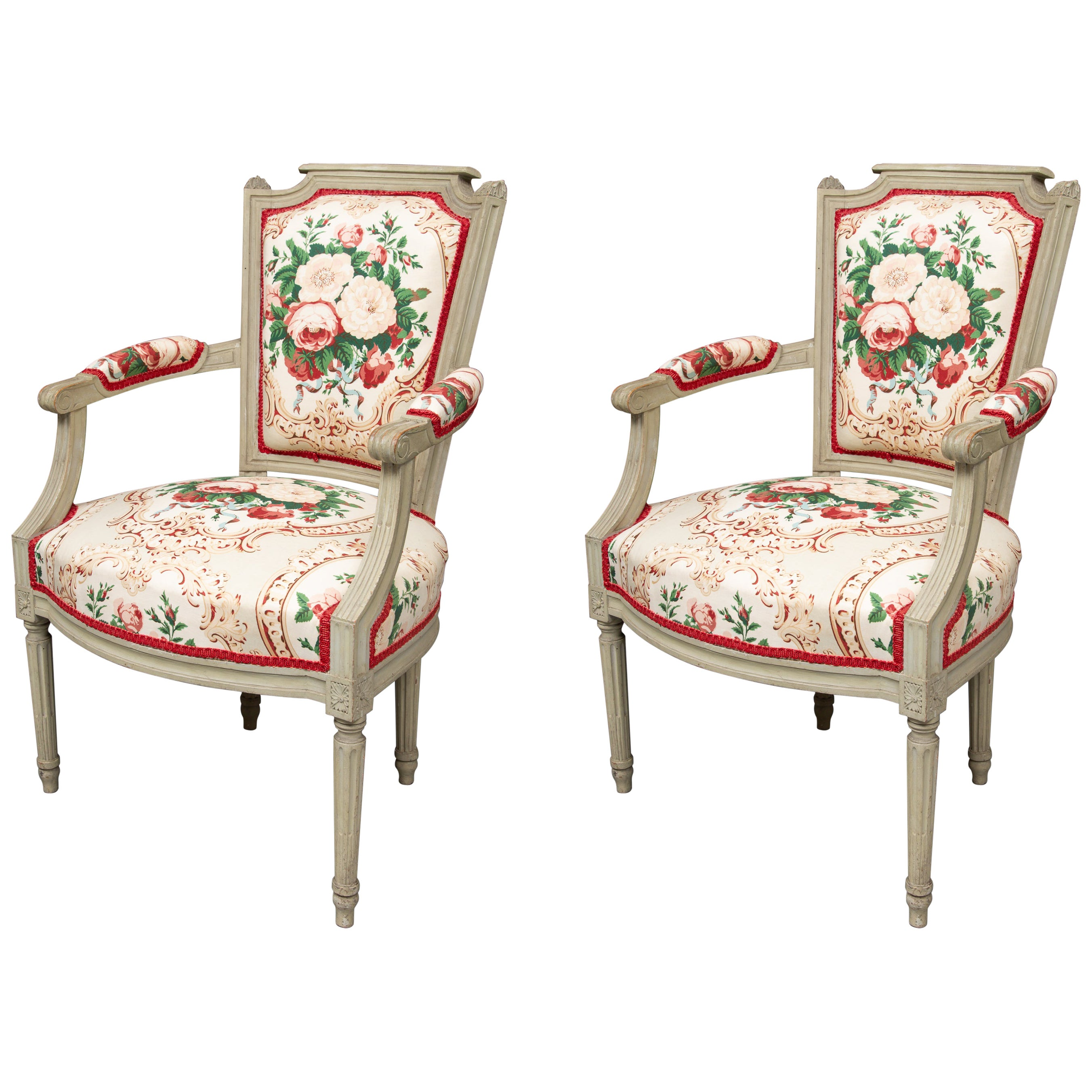 Pair of Painted Louis XVI Style Armchairs