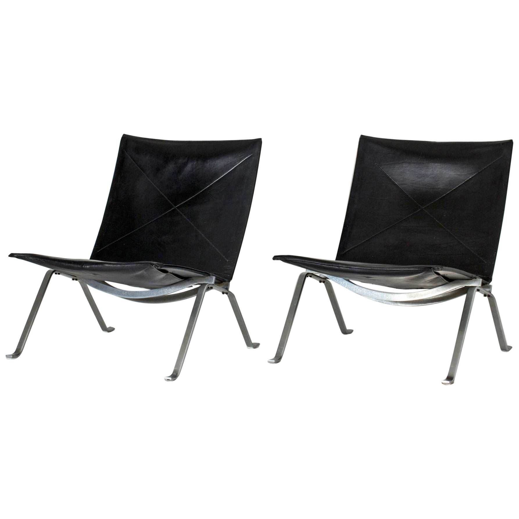 """Pair of """"PK 22"""" Lounge Chairs by Poul Kjærholm"""