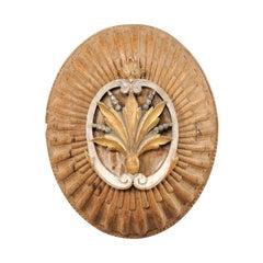 19th Century Italian Oval Wooden Wall Fragment