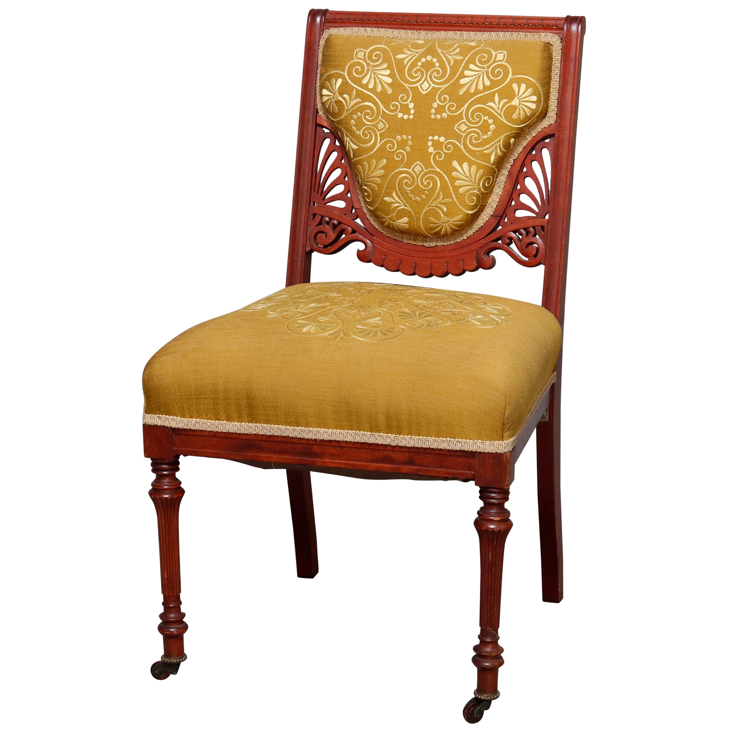 Antique Victorian Eastlake Carved Walnut Upholstered Side Chair, 20th Century