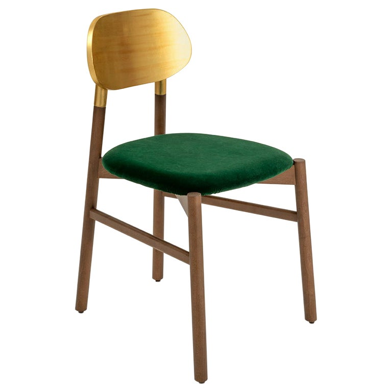 Bokken Chair Upholstered Walnut and Gold Leaf, Minimalist with a Precious Touch