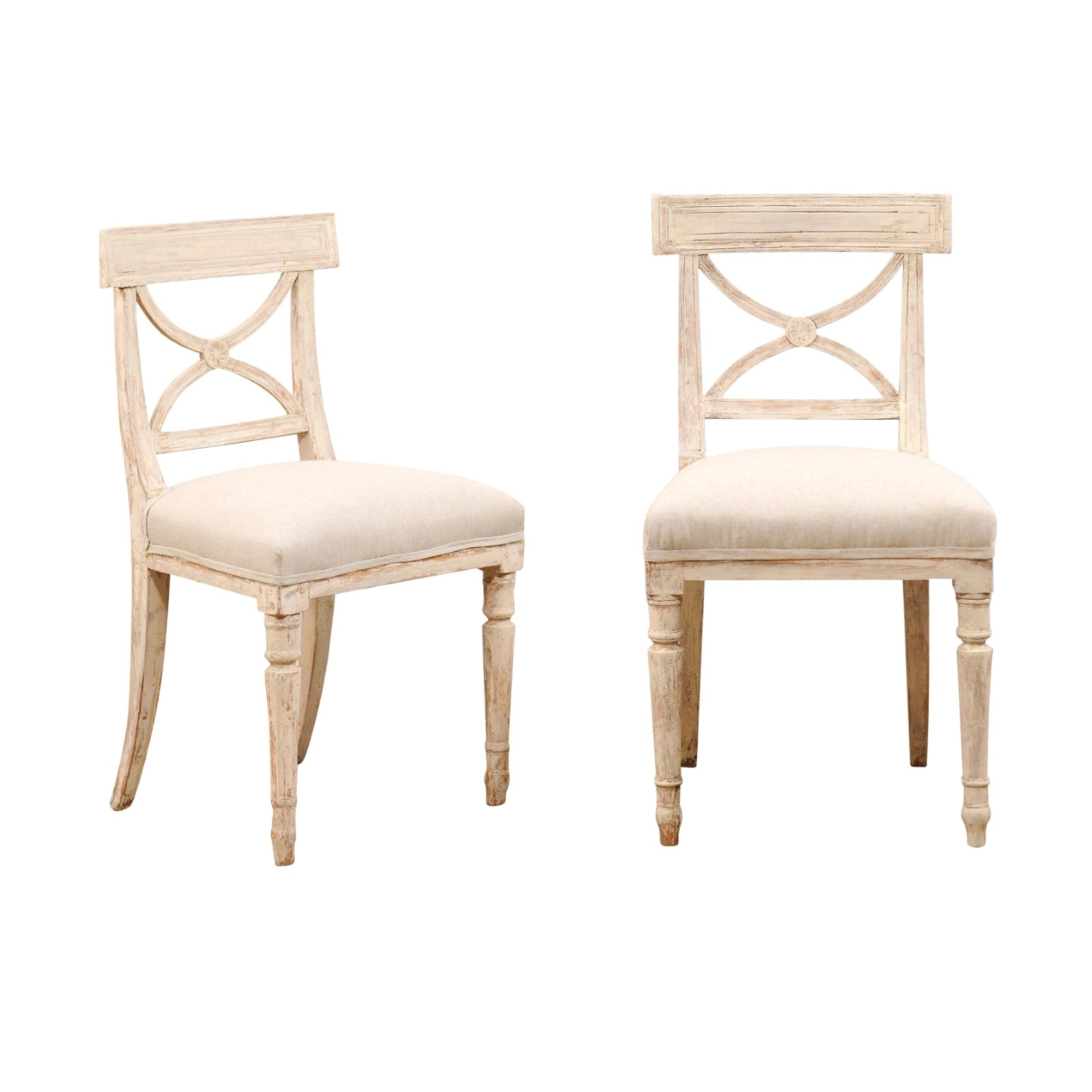 Pair of 19th Century Swedish Period Gustavian Side Chairs with Open Carved Backs
