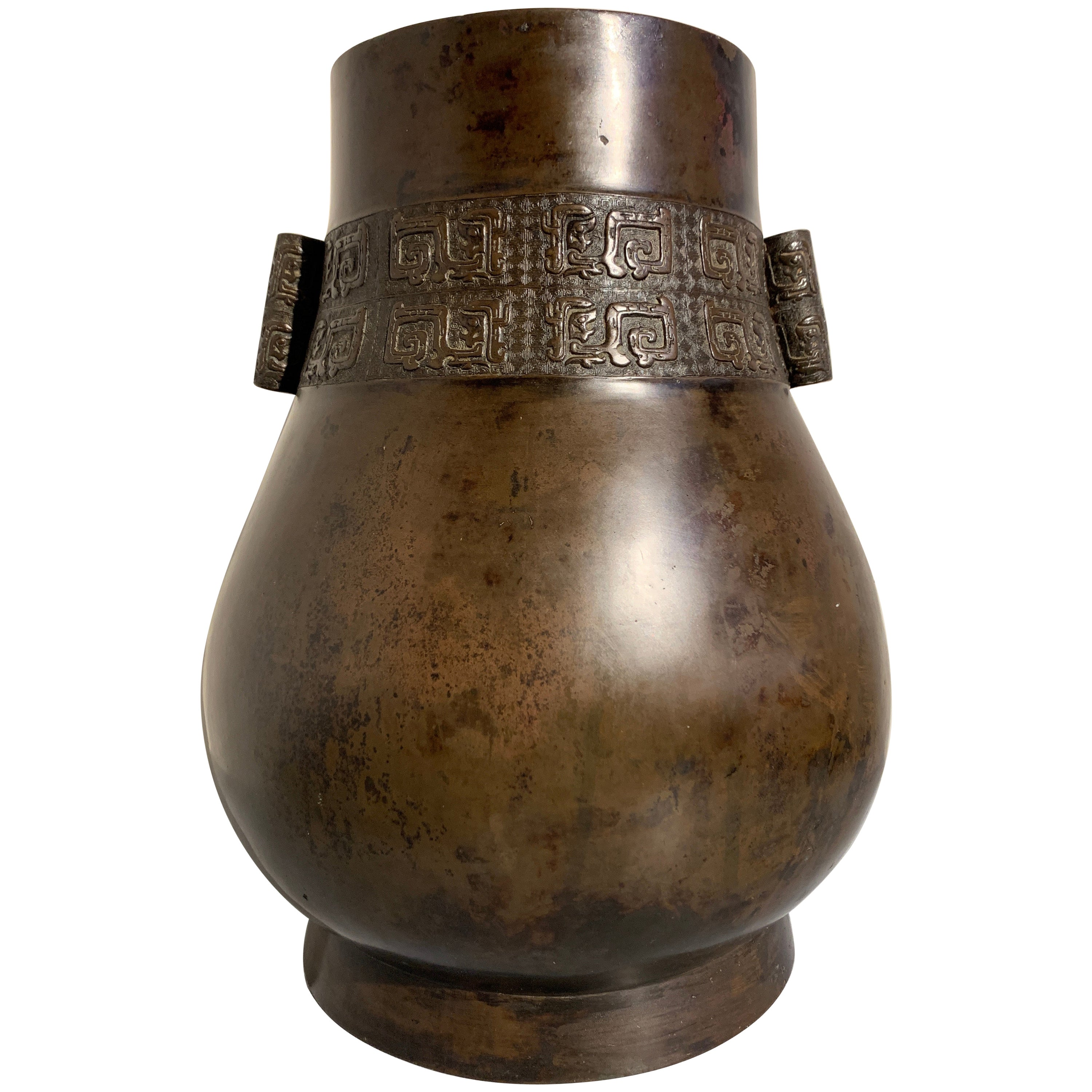 Large Chinese Archaistic Bronze Hu Arrow Vase, Ming/Qing Dynasty, 17th Century