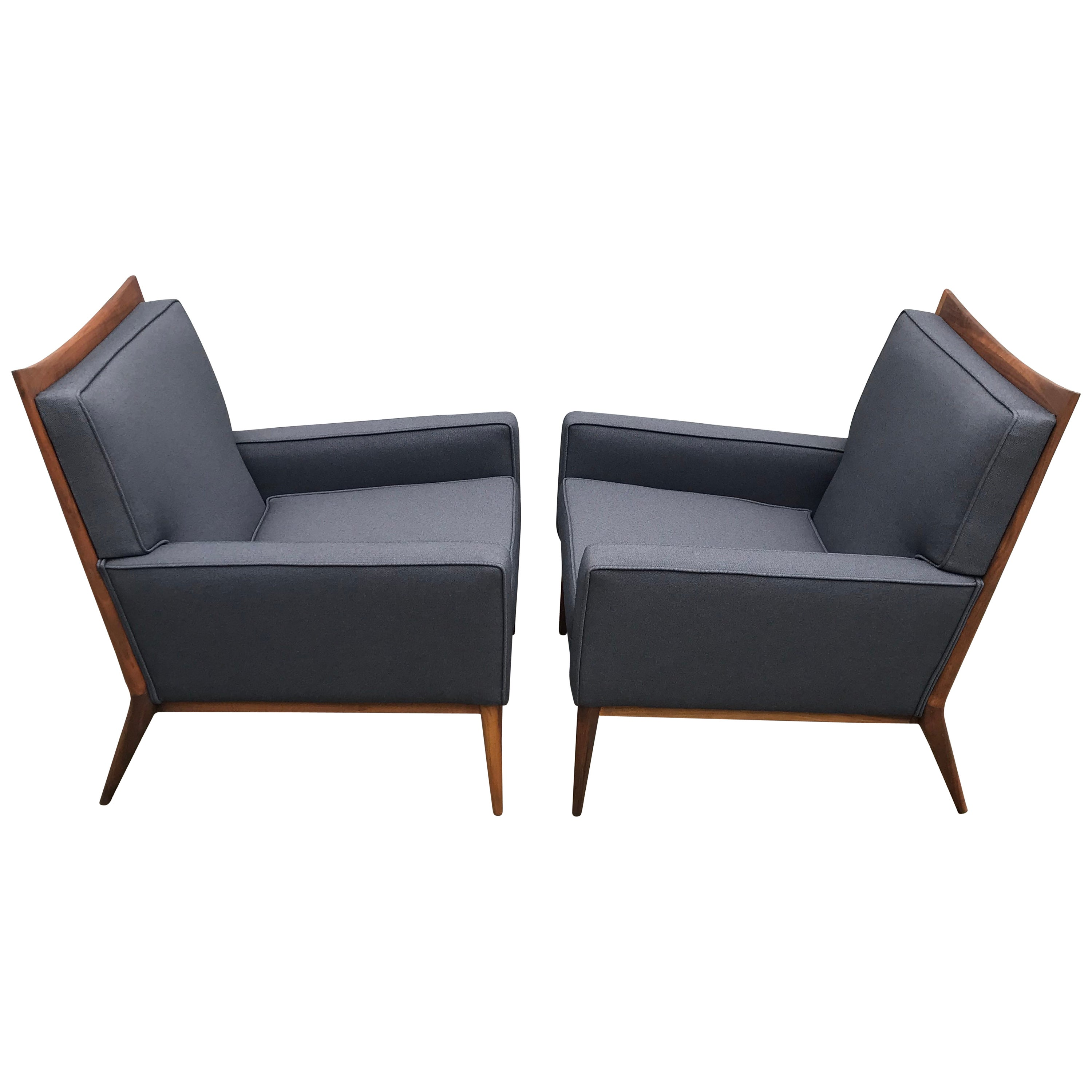 Pair of Slate Grey Paul McCobb Lounge Club Chairs for Directional, 1950's