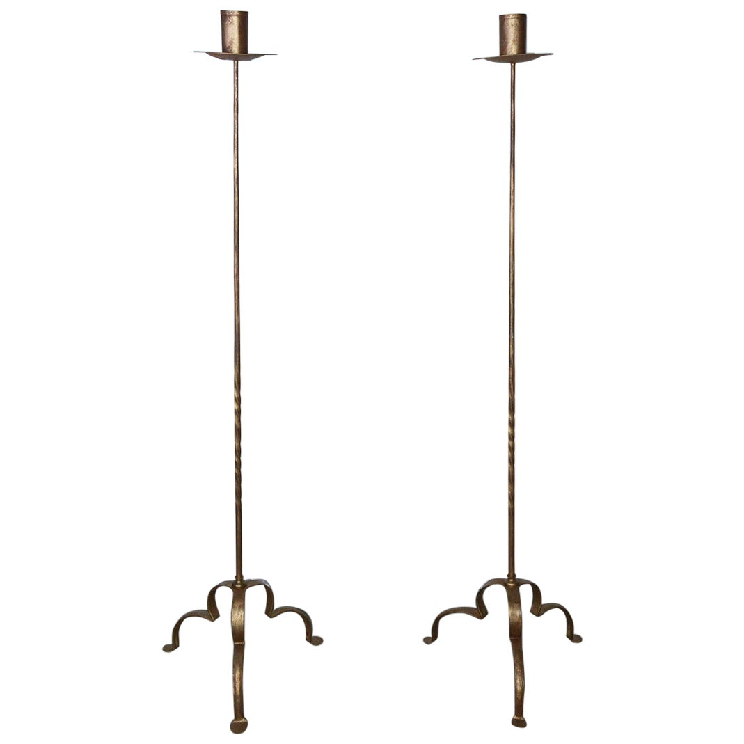 Pair of Vintage Gilt Wrought Iron Torcheres or Candle Stands